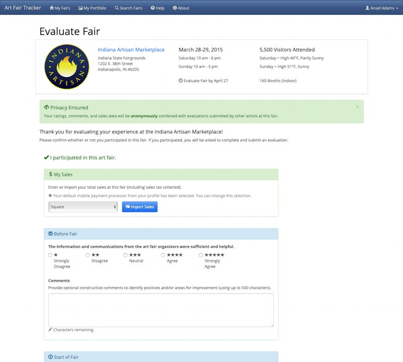 High-Fidelity Prototype of Evaluate Fair After Participation